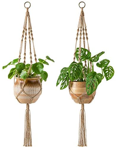 Mkono 2 Pack Macrame Plant Hangers Indoor Hanging Planter Basket Decorative Flower Pot Holder Jute Rope for Indoor Outdoor Home Decor 4 Legs 40 Inch