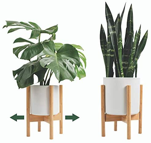 Mid Century Plant Stand Otter & Mint - Adjustable Bamboo Indoor Plant Stand Holder Fits Pots 8-12 Inch - Modern Wood Plant Stand Outdoor - Fits Any Room Including Corners