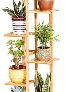 Bamboo 5 Tier 6 Potted Plant Stand Rack Multiple Flower Pot Holder Shelf Indoor Outdoor Planter Display Shelving Unit for Patio Garden Corner Balcony Living Room
