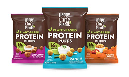 HAPPY LITTLE PLANTS Protein Puffs, Variety Pack, 1.25 Ounce (Pack of 12)