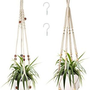 2 Packs Macrame Plant Hangers, Indoor Hanging Planter Basket with Wood Beads Decorative Macrame Pot Hanger for Home Decor with 2 Hooks