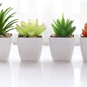Fake Succulent Plants Artificial Faux Succulents 4pcs Plastic Mini Potted Fake Succulents for Flower Arrangements