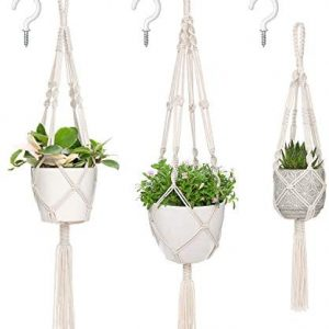Mkono Macrame Plant Hangers, 3 Different Sizes Indoor Hanging Planters Basket Decorative Flower Pots Holder Stand Boho Home Decor, Ivory