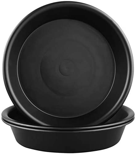 QDBNW Plant Saucer 12 inch of 3 Pack Black Heavy Duty Sturdy Durable Plastic Drip Trays, with 3 Pcs Plant Labels, Plant Trays for Indoor Outdoor Garden