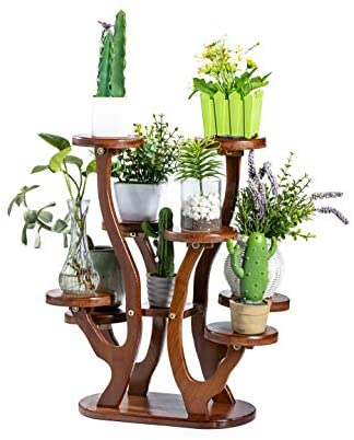 Bamboo 8 Pottred Plant Stand Rack Multiple Flower Pot Holder Corner Balcony Living Room Shelf Indoor Outdoor Plant Display Shelving Unit for Patio Garden