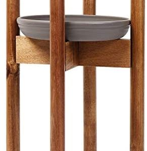 Eartheasy Premium Acacia Plant Stand – Adjustable Mid Century Solid Wood Plant Stand for Indoor Plants with Drip Tray – Fits Plant Pots Up to 12 Inches