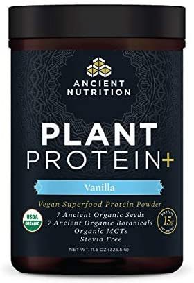 Plant Protein+, Plant Based Protein Powder, Vanilla, Formulated by Dr. Josh Axe, Fusion of Organic Seeds & Botanicals Brings You a Vegan, Non-GMO, No Sugar Added Superfood Supplement, 11.5 oz