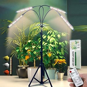 Updated Grow Light with Stand,Full Spectrum 4-Head LED Floor Plant Lamp with Adjustable Tripod and 4/8/12h Timer for Indoor Tall & Large Plants