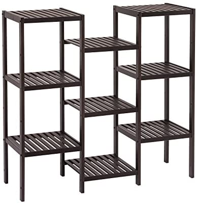 SONGMICS Bamboo Customizable Plant Stand Flower Pots Holder Display Utility Shelf Bathroom Storage Rack Shelving Unit Brown UBCB93BR