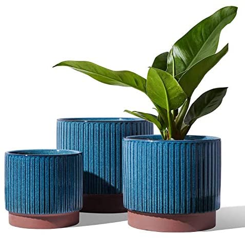 LE TAUCI Plant Pots with Drainage Holes, 8+6.5+5.5 Inch Ceramic Outdoor Planter Pots, Stripe Planters for Plants Flower, Small to Large Size, Set of 3, Reactive Glaze Blue