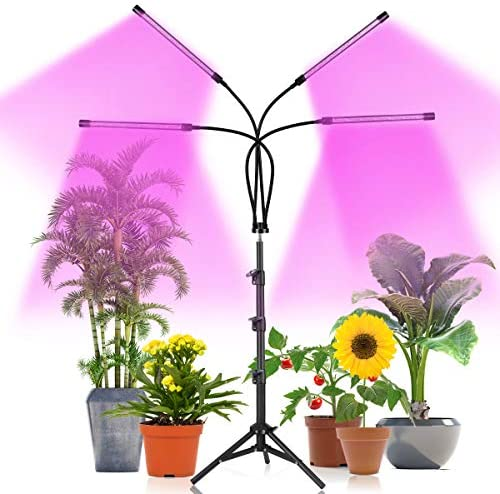 Plant Grow Light with Stand Adjustable 15-47 Inch,80W Four-Head Floor Plant Light with Red Blue LED Bulbs for Small & Tall Plants,Dimmable 3 Light Modes with Auto On/Off Timer