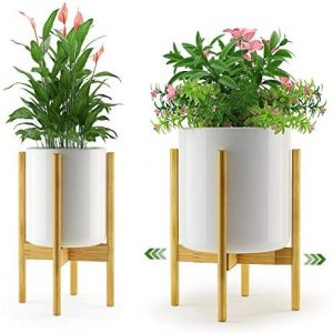Bamboo Plant Stand Flower Holder - Amada Indoor Mid Century Modern Planter Display Rack with Adjustable 8 9 10 11 12 Inches for Windows House Plants, Corner or Floor