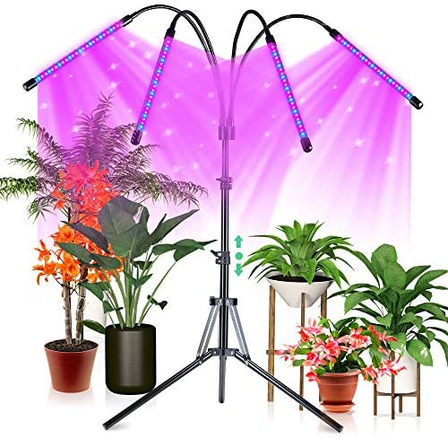 CRAZCALF 120 LED Grow Light for Indoor Plants 100W Four-Head Plant Light with Stand 9 Levels Brightness LED Grow Lights Full Spectrum 4/8/12H Timer Grow Lamp Tripod Adjustable 12-62 inch for Seedling