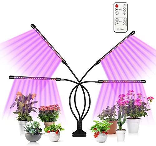 Fansteck Grow Light Plant Light, 80W Full Spectrum Plant Grow Light for Indoor Plants with Sunlight White & Red & Blue, Remote Controller, 80 LED Lamp, Auto Cycle ON/Off Timer (4 Head)