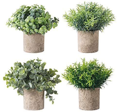 MoonLa Set of 4 Mini Potted Fake Plants Artificial Plant Faux Eucalyptus Boxwood Rosemary Greenery in Pots Face Plant Decor Small Houseplants for Home Decor Office Desk Bathroom Decoration