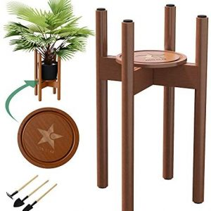 Mid Century Plant Stand Indoor with Coaster, 8 Anti Scratch Pads and 3 Tools | Adjustable Plant Stand fits 8 9 10 11 12Inch Pot | 16 Inch High | Flippable Planter Stands(Pot not Included) (Brown)