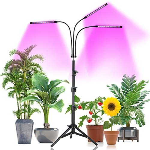 Plant Grow Light with Stand Adjustable 15-47 Inch,60W Tri-Head Floor Plant Light with Red Blue LED Bulbs for Small & Tall Plants,Dimmable 3 Light Modes with Auto On/Off Timer