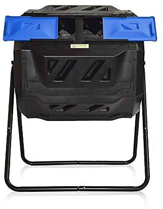 SQUEEZE master Large Compost Tumbler Bin -Outdoor Garden Rotating-Dual Compartment - Better Air Circulation Efficient Compost- BPA Free-Sturdy Steel Frame - 43Gallon (2-21.5Gal) (Black Blue)