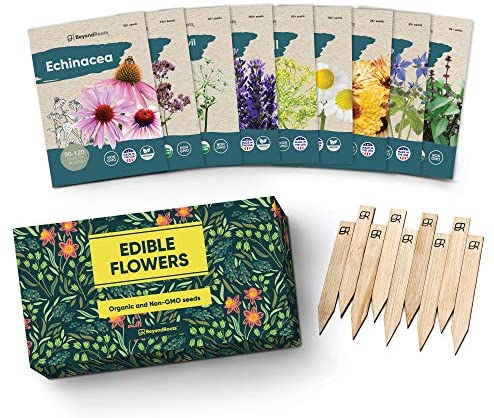 100% Edible Flower Seeds for Planting - Certified Organic Seeds - 9 Flower Garden Non GMO Plant Seed Packets & Plant Markers - Lavender, Echinacea, Calendula, Borage, Wildflower, Chamomile, Thai Basil