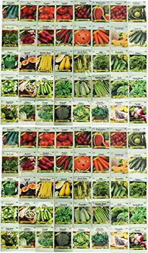 Set of 80 Vegetable and Herb Seeds - Semi Assorted - 100% Non-GMO & Heirloom - Great for Starting a Garden! High Germination Rate! (80)