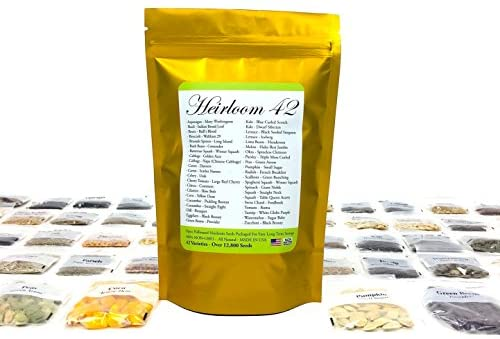 Heirloom Futures Seed Pack with 42 Varieties of Non GMO Open Pollinated Vegetable Seeds All Non-Hybrid