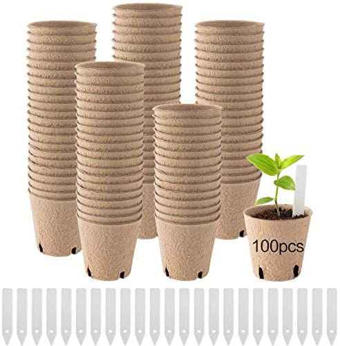 "100pcs 3"" Round Peat Pots for Seedlings- Biodegradable Plant Seed Starter Peat Pots with 4 Holes Eco-Friendly Germination Seedling Trays with Bonus 60pcs Plant Markers for Vegetable Seed Germination"