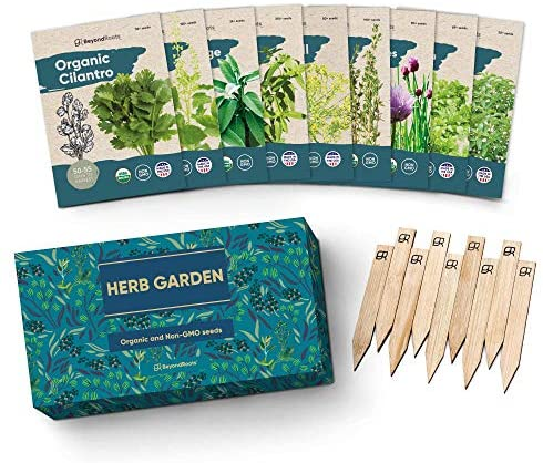 9 Herb Garden Seeds for Planting - USDA Certified Organic Herb Seed Packets - Non GMO Heirloom Seeds - Plant Markers & Gift Box - Tulsi Holy Basil, Cilantro, Mint, Dill, Sage, Arugula, Thyme, Chives