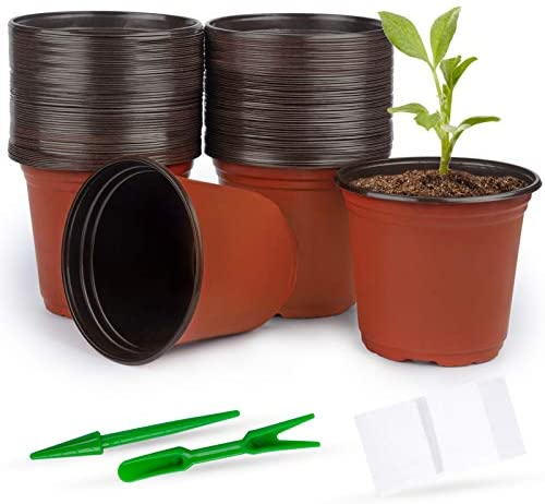 Mhonniwa 120PCS Plastic Nursery Pot 6Inch with 100 Pcs Planting Tags and 2 Pcs Mini Garden Tools Seed Starting Pots for Succulents, Seedlings, Cuttings, Transplanting