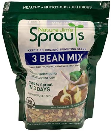 Nature Jims Sprouts 3 Bean Seed Mix - Certified Organic Green Pea, Lentil, Adzuki Bean Seeds for Planting - Non-GMO Vegetable Seeds - Resealable Bag for Freshness - Fast Sprouting Bean Seeds - 16 Oz