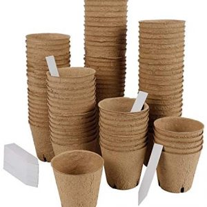 winemana Round Biodegradable Peat Pots for seedlings, 3 x 3 in, 100 Pack Plant Starter Pots Kit 100 Plant Labels, Perfect for Vegetables, Fruits, Succulents