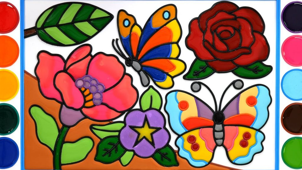 Flower garden, butterfly Jelly Coloring & Painting | Satisfying Video | Menggambar Dan Mewarnai