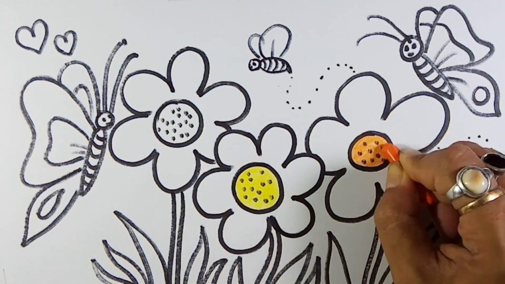 Easy and simple Flower Garden Drawing