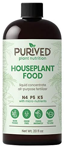 Purived Liquid Fertilizer for Indoor Plants | 20oz Concentrate | Makes 50 Gallons | All-Purpose Liquid Plant Food for Potted Houseplants | All-Natural | Groundwater Safe | Easy to Use | Made in USA