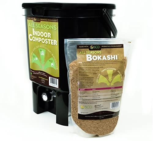 SCD Probiotics All Seasons Indoor Composter, Easy Start Countertop Kitchen Compost Bin with Bokashi - Easily Compost Indoors, Low Odor, Beginner Friendly – K200 Black, Recycled Plastic, 5 gal