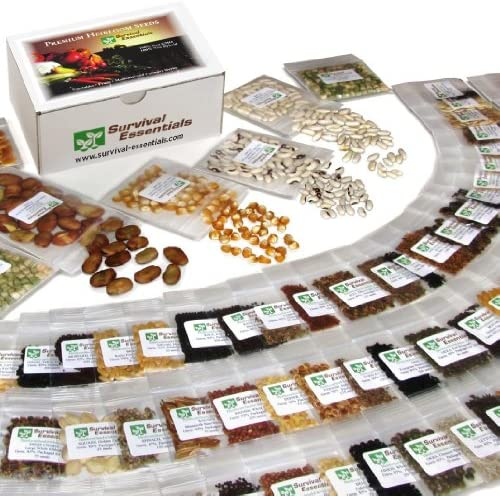 Survival Essentials' Premium 135 Variety Heirloom Seed Bank: 23,335+ Non-Hybrid, Non-GMO Heirloom Seeds.Veggies, Fruits, Medicinal & Culinary Herbs Plus 9 Free Rare Tomato Varieties