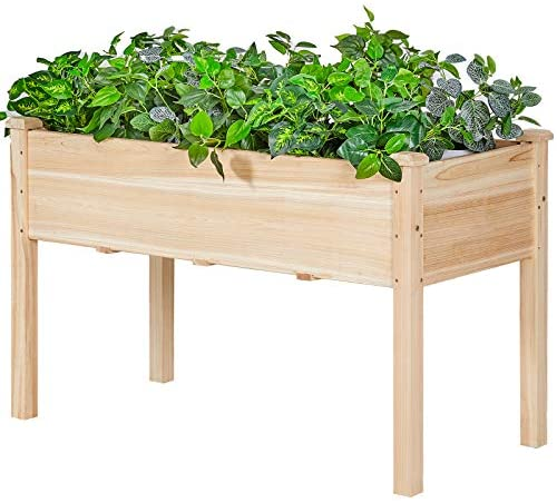 AMERLIFE Raised Garden Bed 4x2.5x2 FT - Elevated Wooden Planter Box Stand with Legs for Vegetable Flower Herb Outdoor Gardening Backyard Patio,30 Inch Height 220 lbs Capacity