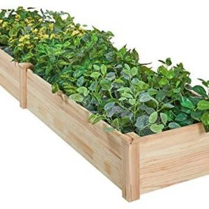 AMERLIFE Raised Garden Bed 8x2 FT - Wood Raised Garden Bed Kit Wooden Planting Bed Solid Wood for Vegetable Flower Herb Outdoor Lawn Yard Patio