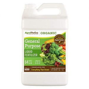 AgroThrive All Purpose Organic Liquid Fertilizer - 3-3-2 NPK (ATGP1128) (1 Gal) for Lawns, Vegetables, Greenhouses, Herbs and Everything Else that Grows