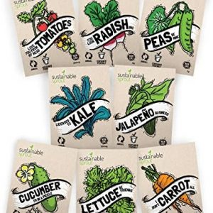 """Vegetable Seeds Heirloom""""SillySeed"""" Collection - 100% Non GMO. Veggie Garden Variety Pack: Tomato, Cucumber, Lettuce, Kale, Radish, Peas, Carrot, Jalapeno Pepper"""