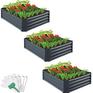CEED4U 3 Packs 4 x 3 x 1 Feet Metal Raised Garden Bed with 12 Pcs Garden Stakes, 45 Pcs Plant Labels and Gloves, Elevated Vegetable Planter Box for Vegetables Fruits Flowers Herbs (Dark Grey)