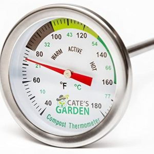 Compost Thermometer - Cate's Garden Premium Stainless Steel Bimetal Thermometer for Backyard Composting - 2 Inch Diameter Fahrenheit / Celsius Dial, 20 Inch Temperature Probe