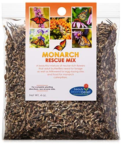 Monarch Butterfly Rescue Wildflower Seeds 4oz. Bulk Open-Pollinated Wildflower Seed Packet, No Fillers, Annual, Perennial Milkweed Seeds for Monarch Butterfly