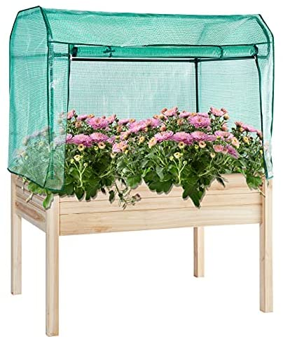 Aoxun Raised Garden Bed for Planting Flower Vegetable Fruit Outdoor Elevated Wood Planter Box with PE Greenhouse Cover in Patio Backyard Balcony Outside, 48 x 34 x 63 inch
