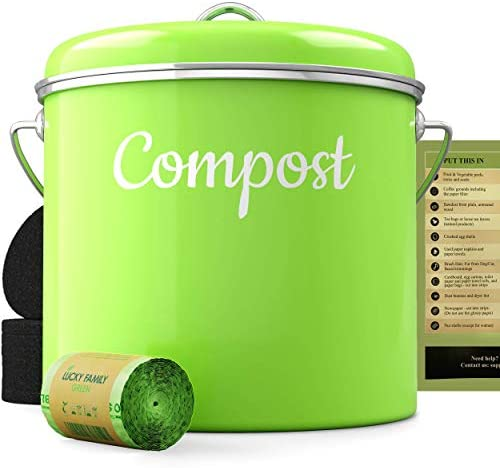 Compost Bin Kitchen Container - Indoor Countertop Composter Sealed Pail with Lid - 50 Biodegradable Bags 6 Charcoal Filters Set Counter Food Waste Bucket - Stainless Steel Composting Outdoor Green
