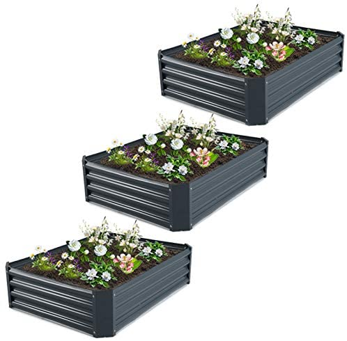 GROWNEER 3 Packs 4 x 3 x 1 Feet Dark Gray Metal Raised Garden Bed with 12 Pcs Garden Stakes, 1 Pair of Gloves and 15 Pcs Plant Labels, Elevated Planter Box for Vegetables, Fruits, Flowers, Herbs