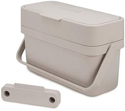 Joseph Joseph Compo 4 Easy-Fill Compost Bin Food Waste Caddy with Adjustable Air Vent, 1 gallon / 4 liters, Stone