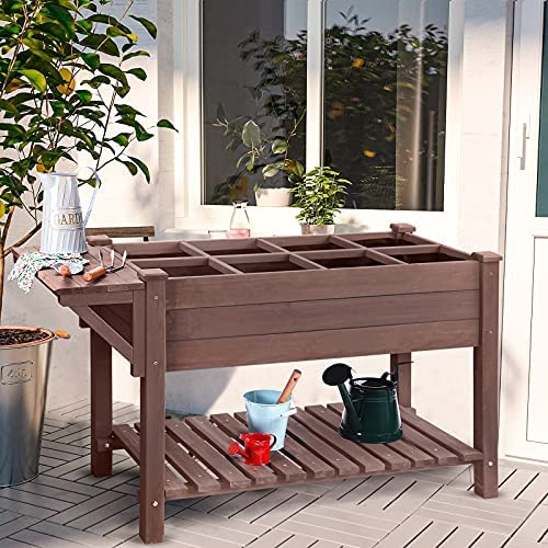 """Raised Garden Bed, Elevated Plant Boxes Outdoor Large with Grow Grid - with Large Storage Shelf 52.7"""" x 22"""" x 30"""""""
