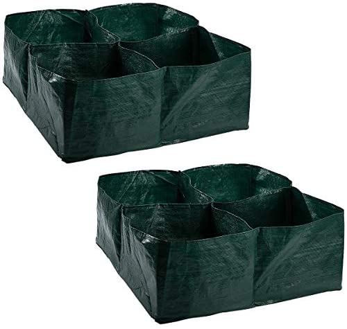 Apipi 2 Pack Raised Garden Planter Fabric Bed, 4 Divided Grids Durable Square Planting Grow Pot for Carrot Onion Herb Flower Vegetable Plants