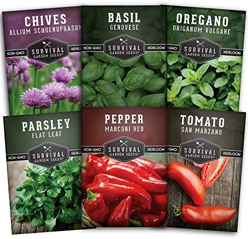 Survival Garden Seeds - Italian Vegetable Collection Seed Vault - Basil, Oregano, Parsley, Chives, Red Pepper, Tomato - Non-GMO Heirloom Varieties
