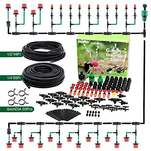 Jepeux Drip Irrigation Kit, with Stainless Steel Clamp and Thick Tube Garden Irrigation Systems. Firmer Connector and More Stable Water Pressure, for Garden, Greenhouse, Lawn, Hanging Baskets